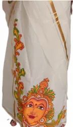 Formal Wear WHITE FIRST LETTER MURAL PAINTING SAREE, Without blouse piece, 6 m (with blouse piece)