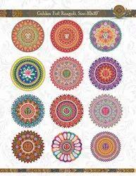 Golden Round Diwali Rangoli Sticker, Size/Dimension: 10