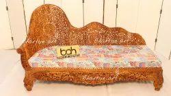 Bhartiye Art Handicraft Wooden Carving Couch Indian Design In A Teak Wood