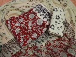 Red And Golden Hand Block Printed Cotton Unstitched Women Suits