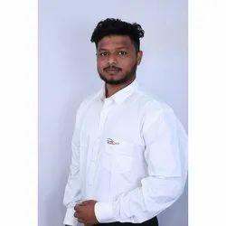 SOWWE Collar Neck Men White Cotton Shirt, Size: 40
