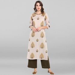 Janasya Women's Grey Cotton Kurta With Palazzo(SET155)