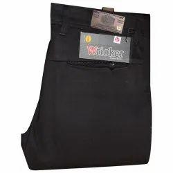 Cotton Flat Mens Black Formal Trouser, Handwash