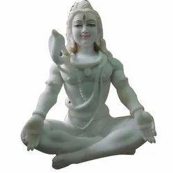 18 Inch White Marble Shiva Statue