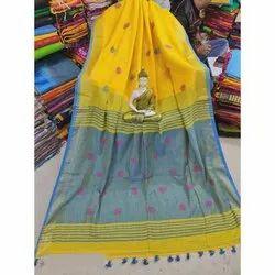 Party Wear Woven Linen Ball Buti Saree, 6.25 Meter