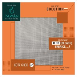Pavan Weaves White Kota Chex Fabric