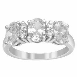 Three Stone 925 Sterling Silver 3.12 Ctw White Zirconia Gemstone Cluster Ring