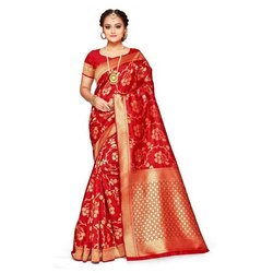 Ladies Red Casual Jacquard Saree