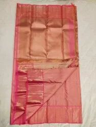 Simple Pink With Gold Color Silk Saree