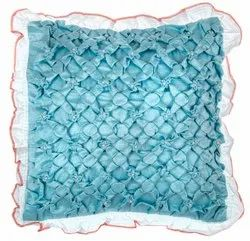 Handmade  blue square satin cushion cover