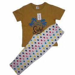 Printed Girls Cotton T-Shirt And Pajama Night Wear Set, Age Group: 4 - 14 Years