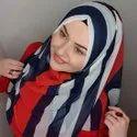 Women's Polka Dot Strips Printed Long Scarf Hijab