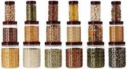 Checkers Plastic Pet Canister Set, 18 Pieces (brown)