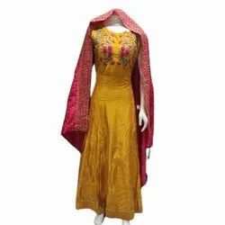 Cotton Stitched Ladies Party Wear Embroidery Suit, Handwash