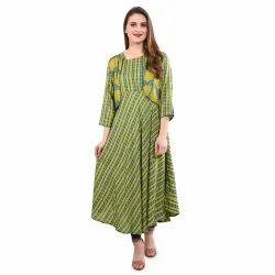 Rayon Casual Wear Long kurti With short coat, Wash Care: Machine wash