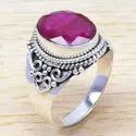 925 Sterling Silver Light Weight Jewelry Ruby Ring WR-6559