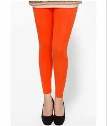 Mid Waist Lux Lyra Orange Cotton Ankle Length Leggings, Casual Wear, Straight Fit