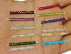 Birthstone Bead Bar Connector - Gemstone Faceted Bead Bar Connector Charms