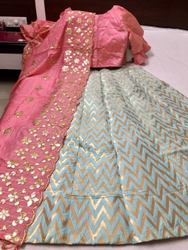 Pink And White Banarasi Silk Lehenga Choli