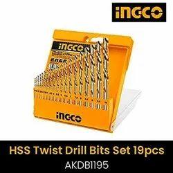 SS316 Stainless Steel Ingco AKDB1195 19PCS HSS Twist Drill Bits Set