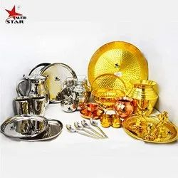 Nutristar Brass, Copper and Stainless Steel Marriage wedding Gift Items 27 Pieces Set