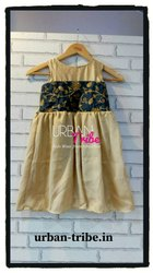 Girl Urban Tribe Black And Golden Embroidered Dress