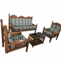 Brown 5 Seater Teak Wood Sofa Set, For Home