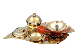 Brass Leaf Design Puja Set, For Worship, Packaging Type: Corrugation Box