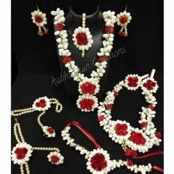 Red & White Pearls and Paper Flower Artificial Baby Shower Jewellery Set