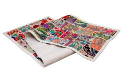Hand Embroidered Patchwork Table Runner, Ethnic Table Decor Cotton Throw Table Runner