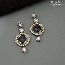 Handmade Designer Pachi Kundan Victorian Chandelier Earrings