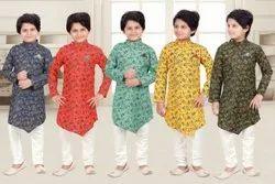 Silk Casual Wear Kids Kurta Payjama Set, Handwash
