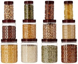 Checkers Plastic Pet Canister Set, 12 Pieces (brown)