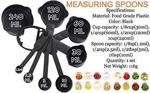 Plastic Measuring Cup And Spoon 8 And 6 Pc Set
