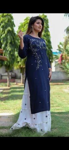 3/4 Sleeves Rayon Kurti With Skirt Set