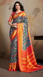 Party Wear Printed Sarees, With blouse piece