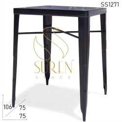 Wooden Black Pub Vintage Cafe Table, Size: 75 X 75 X 105 Cm