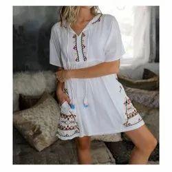 Ladies Cotton Midi Dress, Size: S-XXL