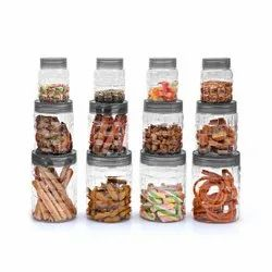 Checkers Plastic Pet Canister Set, 12 Pieces (gray)