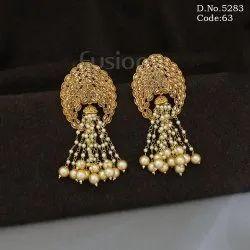 Traditional Polki Stone Pearl Beaded Chandelier Earrings