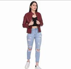 Regular Wear Maroon Ladies Solid PU Leather Jacket