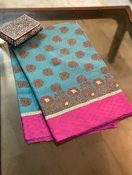 Casual Buti Pure Banarasi Cotton Handloom Patola Saree, Dry Clean, 6.3 Mtrs