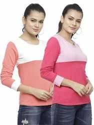 Women's Cotton Lycra Long Sleeves Round Neck 2 Patch Regular Fit Tee T-Shirts