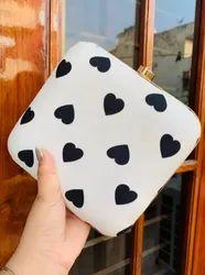 White Heart Print Hand Bag