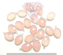 Pink Chalcedony Bezel Connector