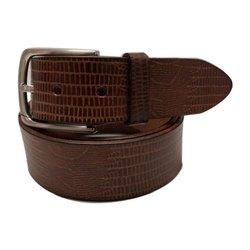 Zinc Alloy Buckle Formal Wear Mens Textured Leather Belt
