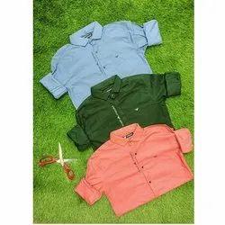 Mascot Collar Neck Men Casual Wear Plain Lycra Shirt