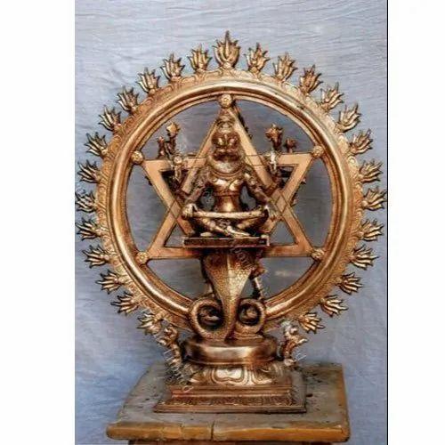 Golden Bronze Sudarshana Statue