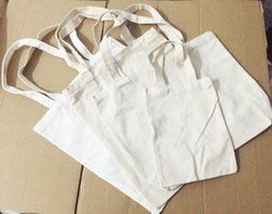 Handled White Loop handle grocery cotton bags, Bag Size: 10x12 Inches