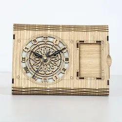 JD Multi Analog Wooden Finish Table Clock, Shape: Rectangle